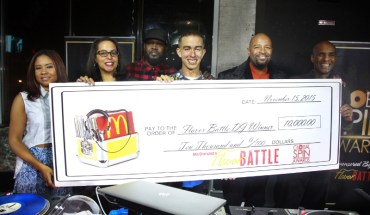Flavor Battle host and legendary DJ Clark Kent stands alongside the 2015 Flavor Battle winner, DJ Rhetorik of NewYork. at the finale at Orbit Nightclub during Global Spin Awards weekend. The sixth annual McDonald's Flavor Battle, a national online DJ competition, showcases some of America's hottest up-and-coming mix-masters. The competition began with 12 DJs representing three regions across the country (Pictured left to right: radio host, Angela Yee, Sprite Senior Customer Marketing Manager, Chrystal Reynolds, DJ Clark Kent, DJ Rhetorik, CEO of Powermoves Marketing & Promotions, Shawn Prez and McDonald's U.S. Marketing Director, William Rhodes. (PRNewsFoto/McDonald's USA)