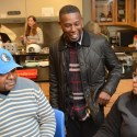 GZA chatting with students about DNA models they were constructing. (PRNewsFoto/Bunker Hill Community College)