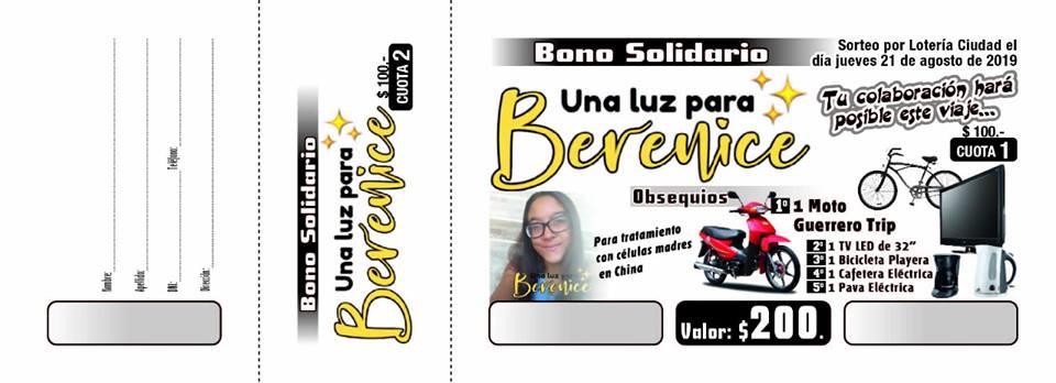 """Bono solidario """"Una luz para Berenice"""""""