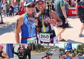 Last wknd's Oly Tri Sta Cruz w/ sis @runtricpa was kickarse! We both PR'd & I edged her by 2mins lol #triathlontraining #nuunlife #healthyrivalry #sistertriathletes #fbf [instagram]