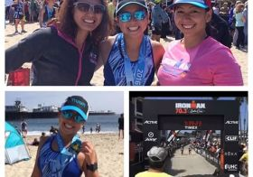 Crazy lady running through the 70.3 finish, oh wait, that's me  My first ever 70.3!! Glad that my sisters were there for support!  #medalmonday #nuunlife #im703santacruz #ironman703 #triathlon [instagram]