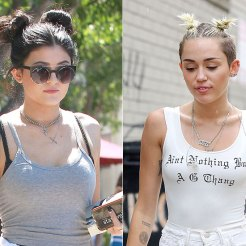 Kylie Jenner e Miley Cyrus con i double buns