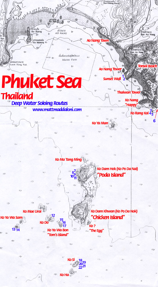 Map of deep water soloing climbing routes around Railey Beach Thailand