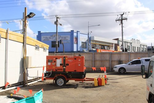 Diesel genset running 24 hours a day at the Footscray site office, despite mains power being a few metres away
