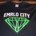 Black Emrld City vinyl heat transfer t-shirt
