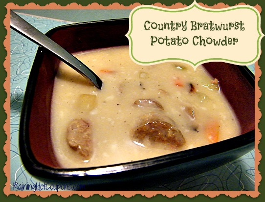 Country Bratwurst Potato Chowder ~ Bring the Barbecue Inside!