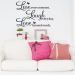 """*HOT* Vinyl Decal """"Live every moment, Laugh every day, Love beyond words"""" Wall Quote $2.00 + FREE shipping!"""