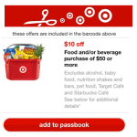 *HOT* Target: $10 Off a $50 Food & Beverage Purchase Coupon!