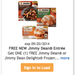 Kroger and Affiliates: FREE Jimmy Dean Frozen Entree (Load Coupon Today)!