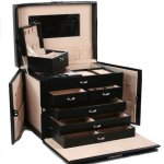 Amazon: Black Leather Jewelry Box Travel Case and Lock Only $65.98 Shipped