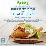 Rubio's: FREE Tacos for Teachers + FREE Pack of Taco Certificates for Students!