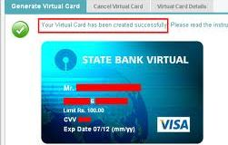 sbi virtual cards