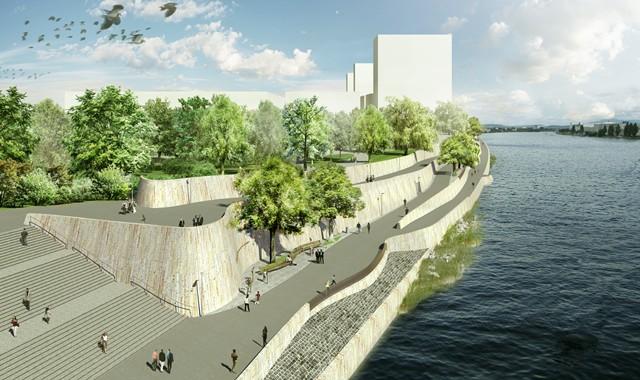 Am Rheinufer zwischen dem St. Johanns-Park und der französischen Grenze entstand eine Promenade für