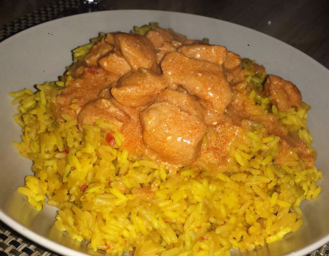 Snelle kip tandoori met rijst