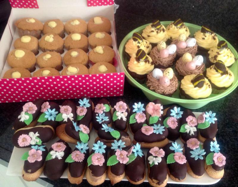 Chocolade cupcakes met vogelnestje