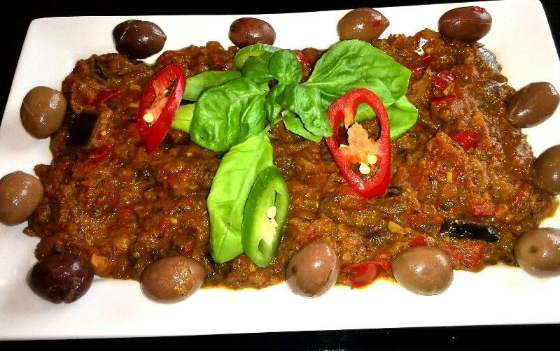 Chermoula van aubergine en paprika