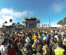 Sun breaking through clouds during Banks' set at Treasure Island Music Festival 2014