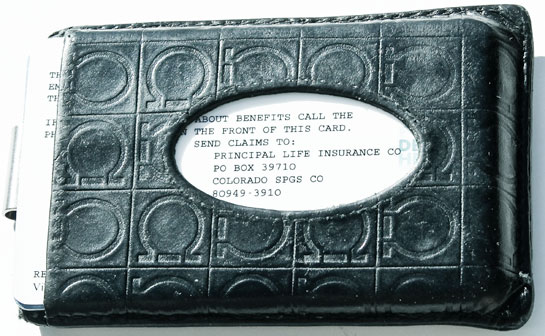 Front of wallet