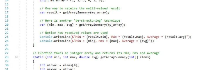 Multi-value Return in C# 7.0