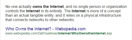 who owns the internet