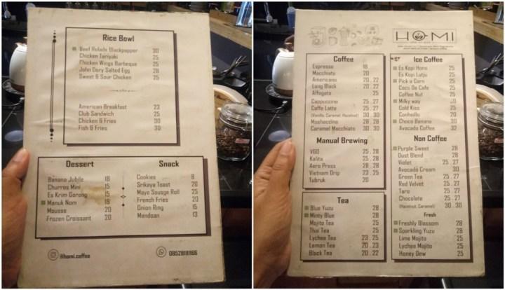 daftar harga menu homi cofee