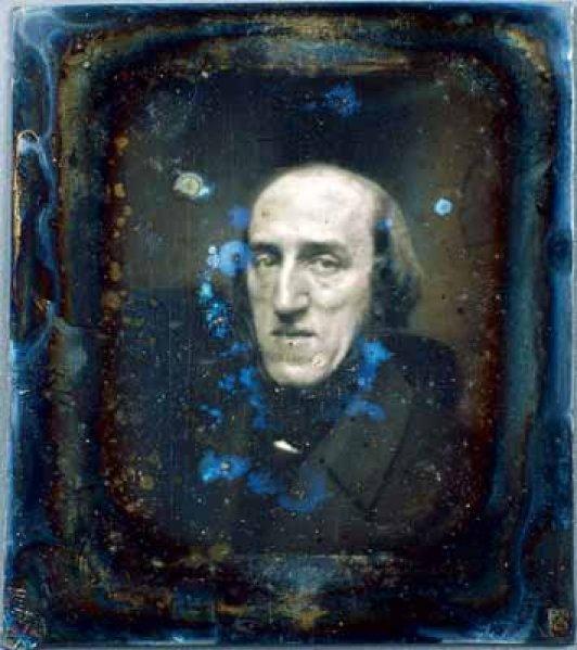Joseph Plateau 1843 – Daguerrotype gemaakt door Joseph Pelizzaro in Gent in 1843 (Collectie J. Plateau, MusWet, Universiteit Gent).