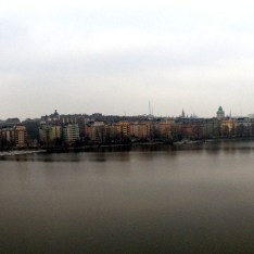 A panoramic view of Stockholm. The town is spread out among a series of islands.