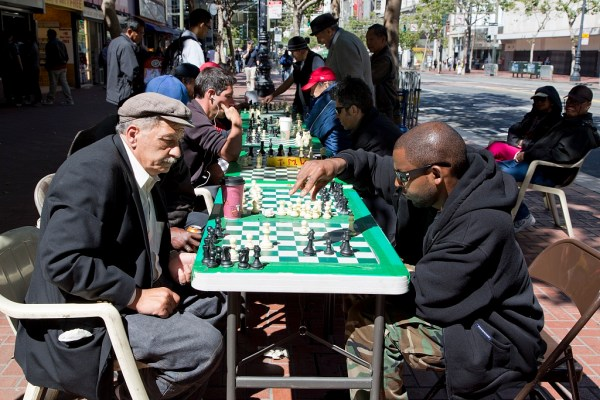 Chess players on Market Street in San Francisco, California. Source: The Jon B. Lovelace Collection of California Photographs in Carol M. Highsmith's America Project, Library of Congress, Prints and Photographs Division.