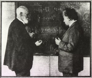 Willem de Sitter and Albert Einstein discuss the equations governing the dynamics of the universe.