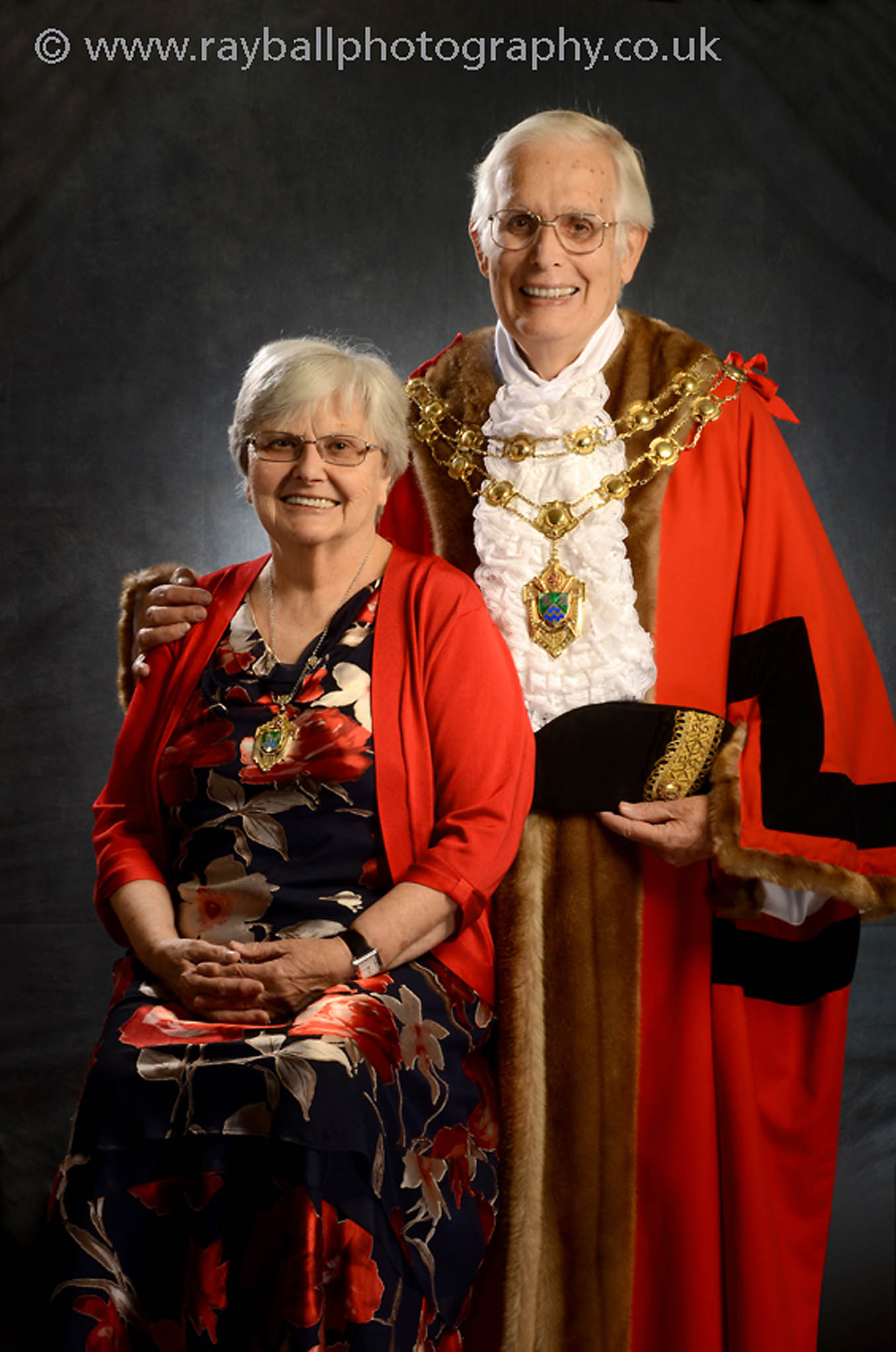 Portrait of the Mayor of Epsom and Ewell with his wife the Lady Mayor. The Epsom races started as a steeple chase between Epsom and Banstead.