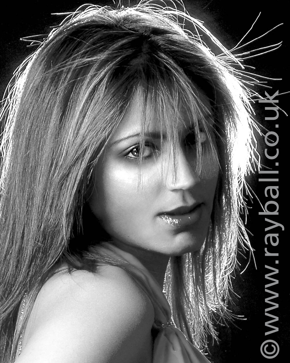 Black and white study of reigate model by Epsom Photography.