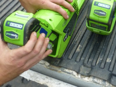 Greenworks lithium batteries in the truck, Ecocut Lawns