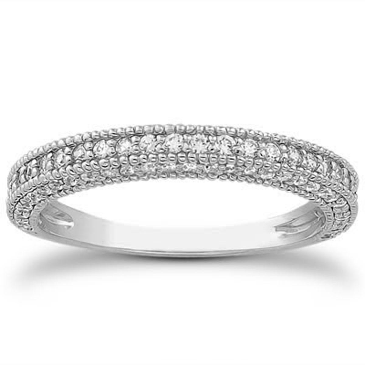 Fancy Pave Diamond Milgrain Wedding Ring Band in 14K White Gold milgrain wedding band Fancy Pave Diamond Milgrain Wedding Ring Band in 14K White Gold Richard Cannon Jewelry
