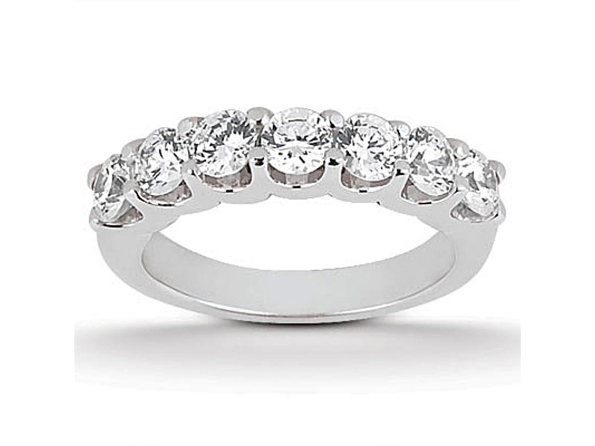 Diamond Shared U Prong Setting Wedding Ring Band 14K White Gold wedding ring band