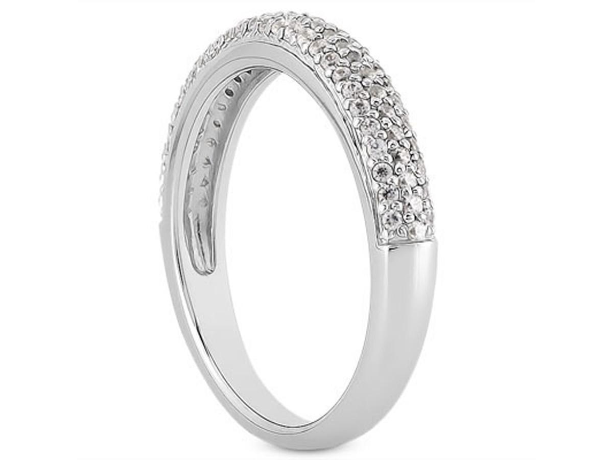 Triple Row Micro Pave Diamond Wedding Ring Band in 14K White Gold pave diamond wedding band Triple Row Micro Pave Diamond Wedding Ring Band in 14K White Gold