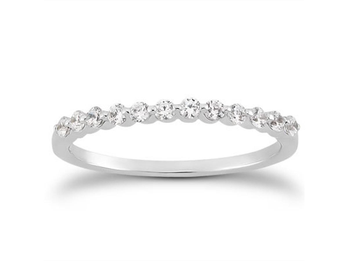 Single Shared Prong Diamond Wedding Ring Band in 14K White Gold wedding ring band