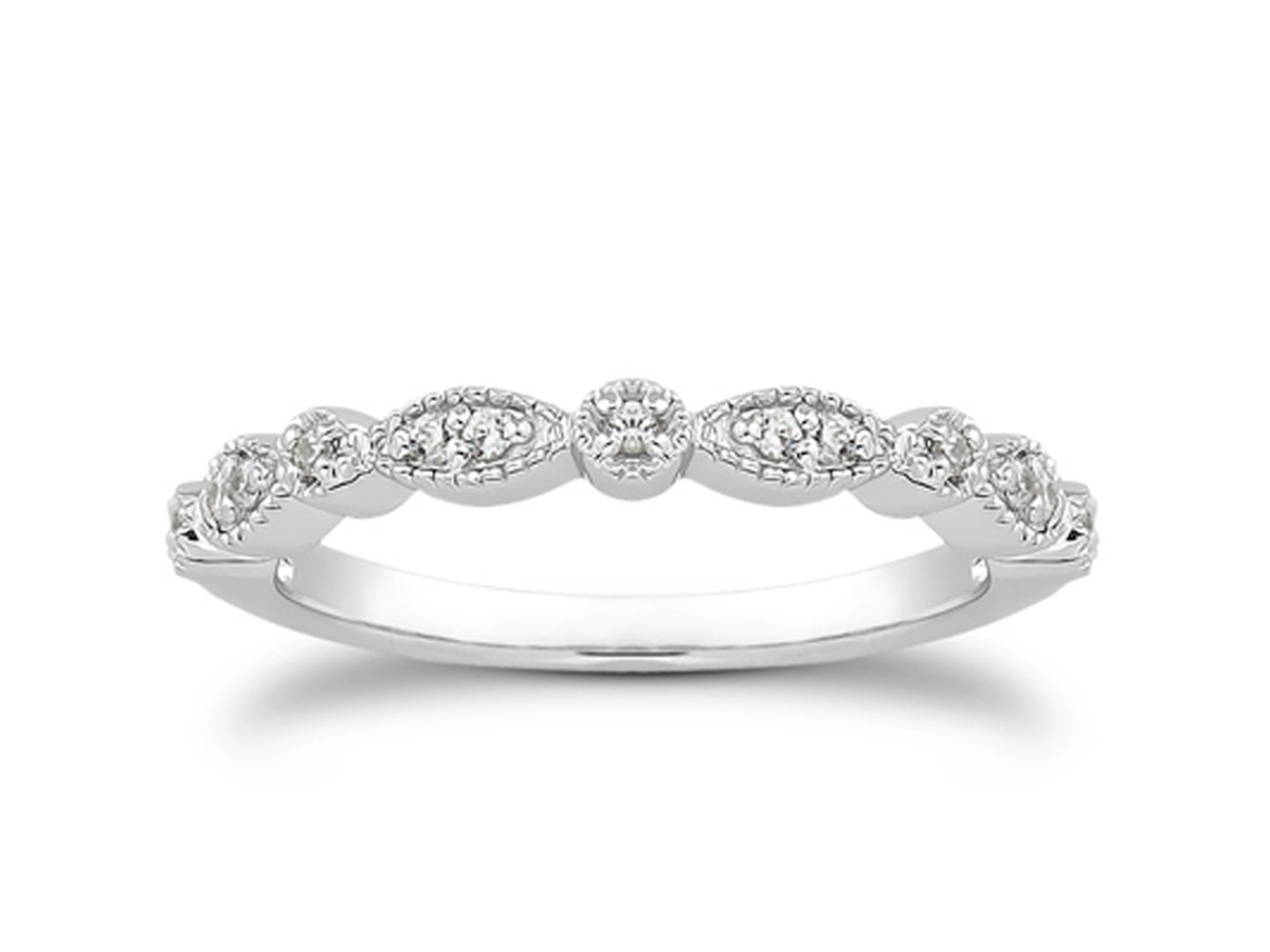 Fancy Pave Diamond Milgrain Wedding Ring Band in 14K White Gold wedding ring with band