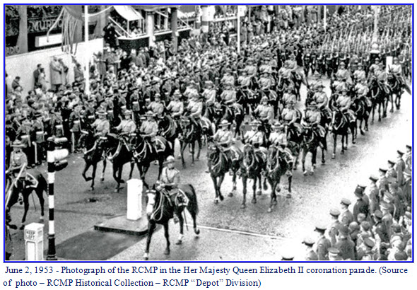 Photograph of RCMP members in Queen Elizabeth II's coronation parade in London England