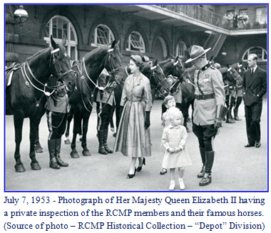 Queen Elizabeth II and her family inspect horses and members of the RCMP Musical Ride