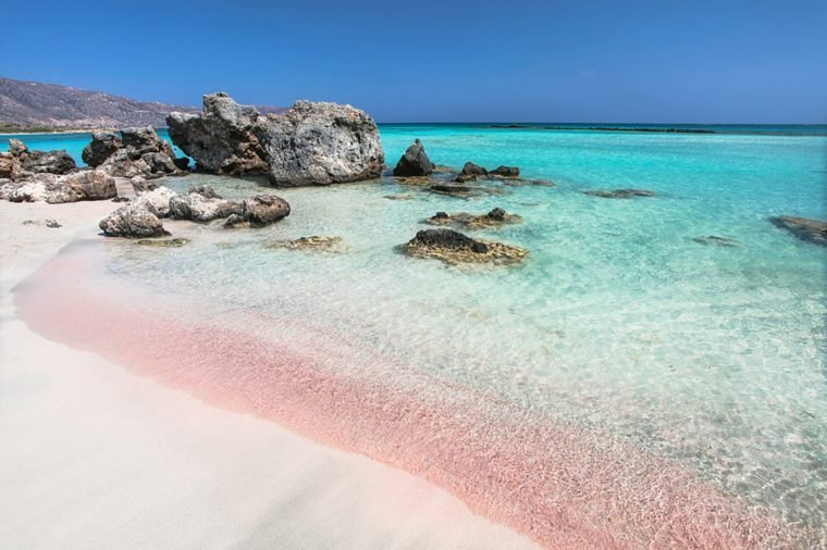 The Most Gorgeous Pink Sand Beaches in the World   Reader s Digest Elafonisi Beach  Greece