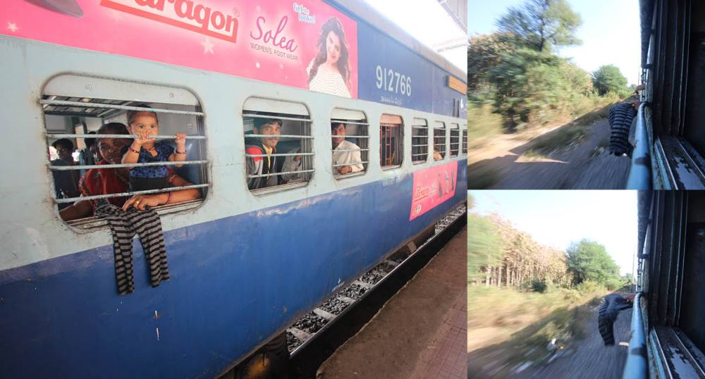 A collage of images showing what life is like travelling by train in India.
