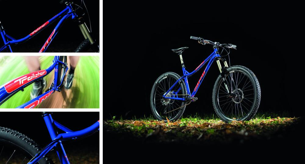 Images of a mountain bike with components Produced in the UK