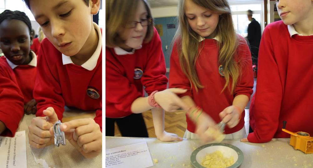 Images of school pupils in the UK engaging in design experiments.