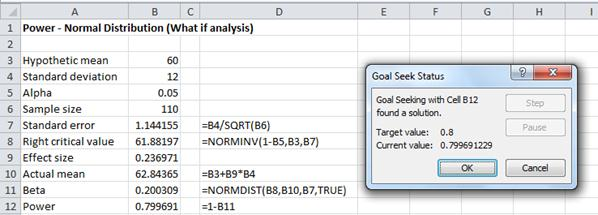 Power normal distribution Excel