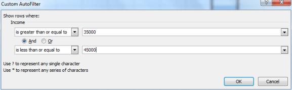 Filter dialog box