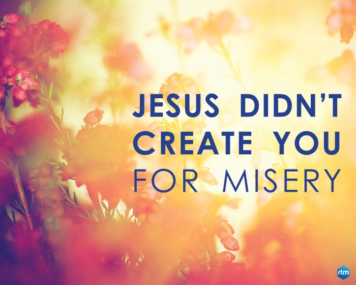 Jesus Didn't Create You For Misery