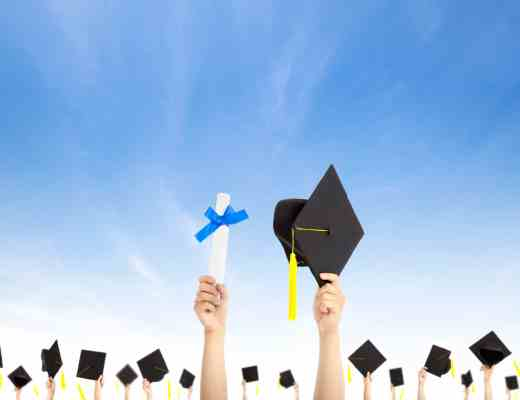 hand holding graduation hats and diploma certificate with cloud background