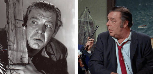 "A tale of two Lennies: Lon Chaney, Jr. as Lennie in Of Mice and Men (L) and as Lenny in ""The Monkees in a Ghost Town"""