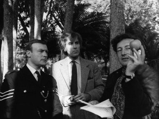 Robin Hardy on the set of The Wicker Man with Edward Woodward and Christopher Lee