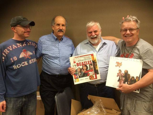 (L-R) Mad Day out Book designer Paul Skellett, Fest For Beatles Fans CEO Mark Lapidos, Tom Murray, and Mad Day Out writer Simon Weitzman at the Chicago Fest for Beatles Fans, August 2016